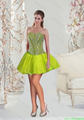 Sexy Beading Mini-length Yellow Green Prom Gown Dress