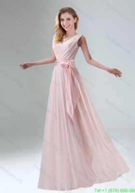Sexy Belt Ruching Chiffon Bridesmaid Dress with Bowknot