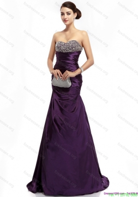 Sexy Brush Train Prom Dress with Ruching and Beading