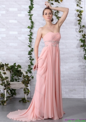 Sexy Brush Train Sweetheart Prom Dress in Peach