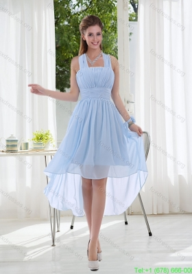 Sexy Halter Ruching 2015 Natural Chiffon Bridesmaid Dress