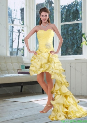 Sexy Light Yellow Sweetheart High Low Prom Dress with Beading and Ruffled Layers
