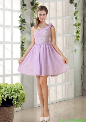 Sexy Lilace One Shoulder A line Bridesmaid Dress with Rushing