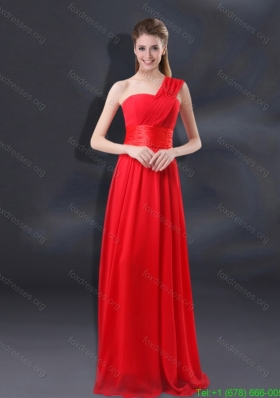 Sexy One Shoulder Ruching Empire Bridesmaid Dresses for 2015