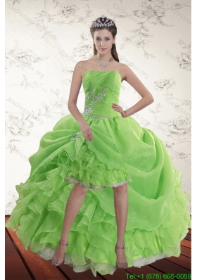 Sexy Spring Green High Low Prom Dresses with Ruffles and Beading
