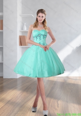 Sexy Spring Turquoise Sweetheart Prom Dresses with Embroidery