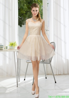 Sexy Straps Lace Sleeveless Bridesmaid Dress with Mini Length