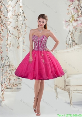 Sexy Sweetheart Hot Pink Sequins and Appliques Prom Dresses