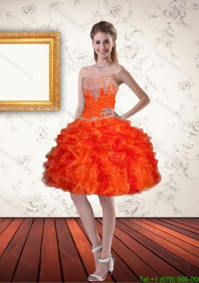 Sexy Sweetheart Orange Prom Dresses with Ruffles and Beading