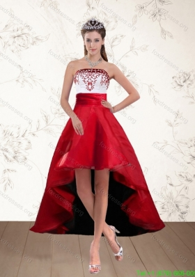 Sexy White And Wine Red High Low Strapless Prom Dresses with Embroidery