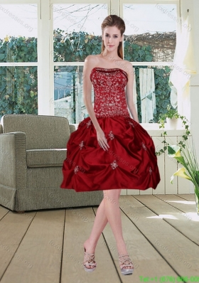 Sexy Wine Red Pretty Strapless 2015 Prom Dresses with Embroidery