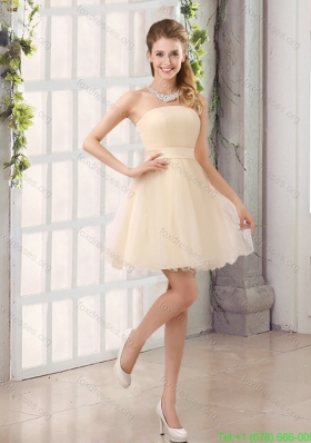 2015 A Line Belt Mini Length Short Prom Dresses with Strapless
