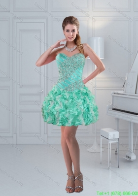 Apple Green Sweetheart Ruffled Beaded Beautiful Short Prom Dresses