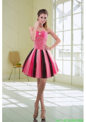 Beautiful Multi Color Beaded Sweetheart Short Prom Dresses with Ruffles