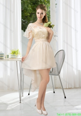 Lace High Low Short Sleeves Short Prom Dresses with One Shoulder