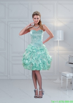 Perfect Ruffled Sweetheart Beaded Short Prom Dresses in Apple Green