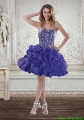Pretty Sweetheart Beaded Short Prom Dresses with Ruffles