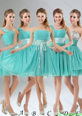 2015 Group Buying  A Line Ruching Lace Up Bridesmaid Dress in Aqua Blue