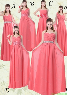 Group Buying Watermelon Bridesmaid Dresses with Ruch and Beading