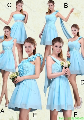 2015 Group Buying  Ruching Chiffon Aqua Blue Bridesmaid Dresses with Mini Length