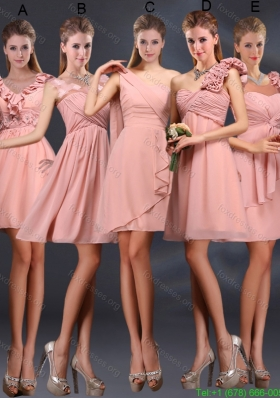 2015 Ruching Chiffon Dama Dresses in Peach