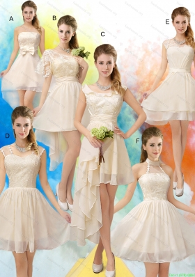 Champagne Chiffon Lace Up Bridesmaid Dress for 2015