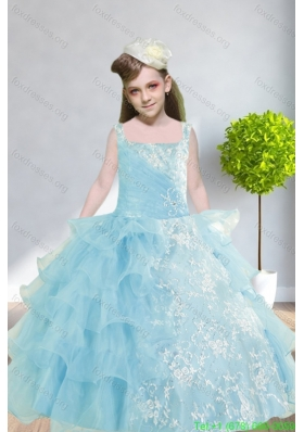 Cheap 2015 Ball Gown Appliques and Ruffles Baby Bule Flower Girl Dresses