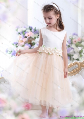 Cheap 2015 White Flower Girl Dress with Waistband and Hand Made Flowers