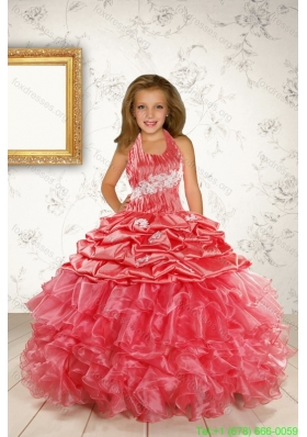 Cheap Appliques and Ruffles Coral Red Flower Girl Dress for 2015 Spring