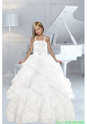 Cheap Appliques and Ruffles White Flower Girl Dresses with Spaghetti Straps