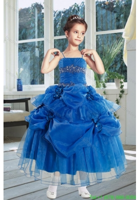Cheap Ball Gown 2015 Royal Blue Flower Girl Dresses with Ruffles