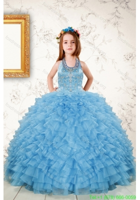 Cheap Beading and Ruffles Flower Girl Dresses in Aqua Blue