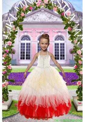 Cheap Beading White and Red Flower Girl Dresses