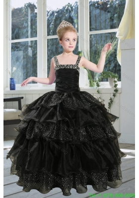Cheap Black Straps Sequins Ruffles Organza Flower Girl Dresses