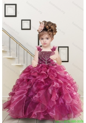 Cheap Burgundy Flower Girl Dresses with Beading and Ruffles for 2015