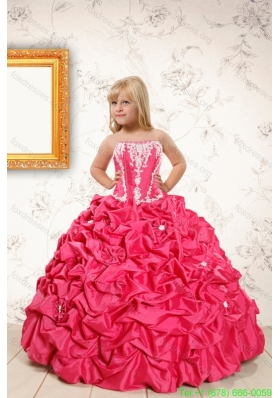 Cheap Coral Red Flower Girl Dresses with  Appliques and Pick Ups
