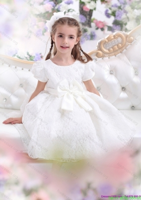 Cheap Lace 2015 White Flower Girl Dress with Short Sleeves and Bowknot