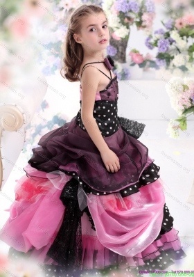 Cheap Multi Color Ruffled 2015 Flower Girl Dress with Bowknot and Hand Made Flower
