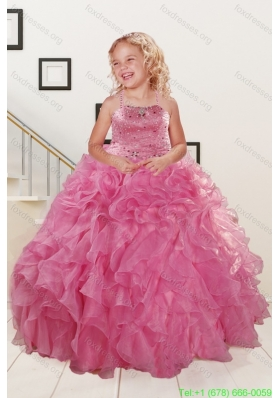 Cheap Pink Flower Girl Dresses with Beading and Ruffles for 2015 Spring