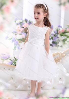Cheap Scoop Tea Length White 2015 Little Girl Dress with Sash