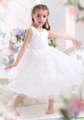 Cheap Scoop White Bowknot A Line Flower Girl Dresses for 2015