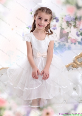 Cheap Scoop White Little Girl Pageant Dresses with Bowknot and Ruffles