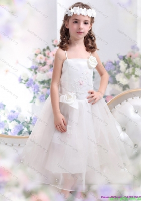 Cheap White Spaghetti Straps Flower Girl Dress with Hand Made Flower and Appliques