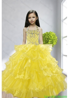 Cheap Yellow Halter Beading and Ruffles Flower Girl Dresses