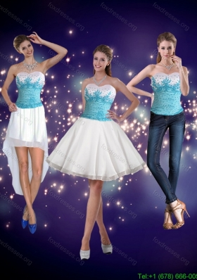 2015 Detachable Embroidery Sweetheart Prom Dresses in White and Blue