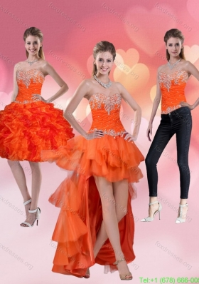 2015 Detachable High Low Sweetheart Orange Red Prom Dresses with Ruffles and Beading