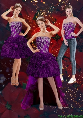 2015 Detachable Purple Strapless Prom Dresses with Embroidery and Ruffles