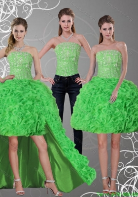 2015 Detachable Spring Green Strapless Prom Dresses with Beading and Ruffles