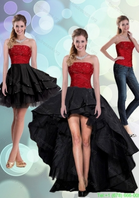 2015 Detachable Strapless Beading Prom Dresses in Red and Black