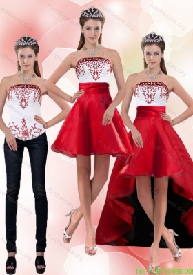 2015 Detachable Strapless Knee Length Prom Dresses with Embroidery